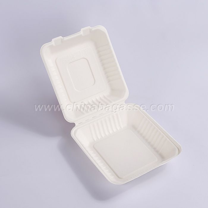 Biodegradable 8 Inch Bagasse Clamshell Pla Lamination