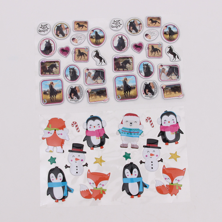 Puffy Glitter Sticker Cute Penguin Sparkly Glitter Puffy Sticker Set