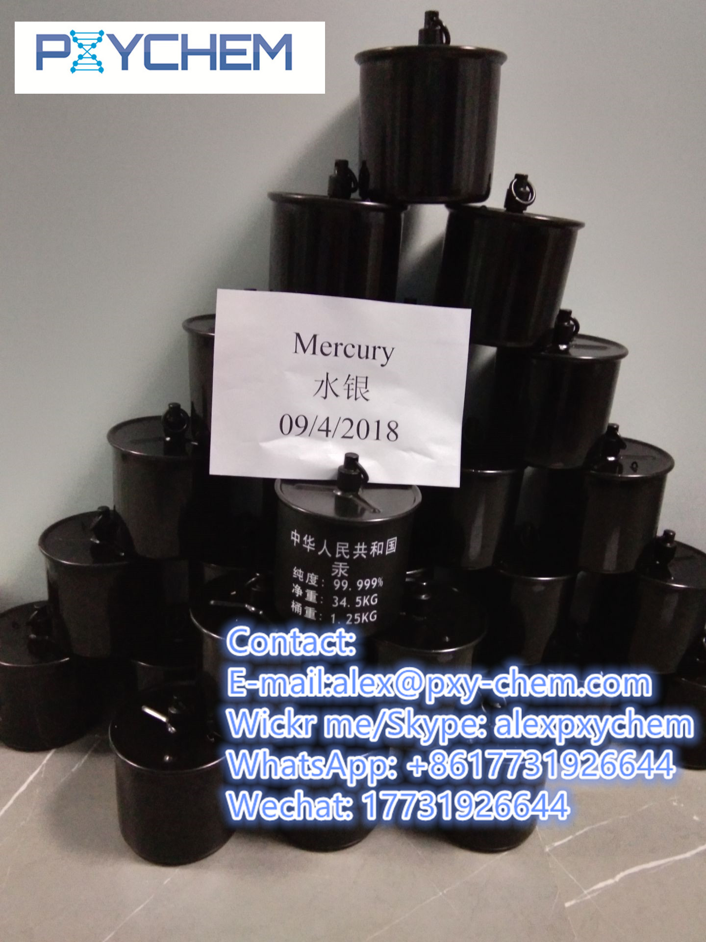For Gold Mining Silver Mercury HG Hydrargyrum Purity 99.999%(wahtsapp:+8618888871636)