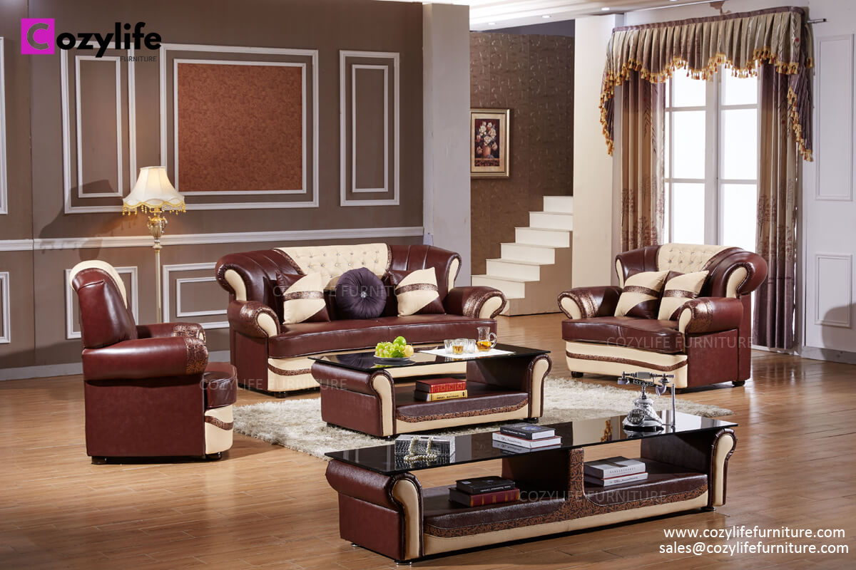 Luxury chesterfield sofa design with coffee table, TV table and ottoman.