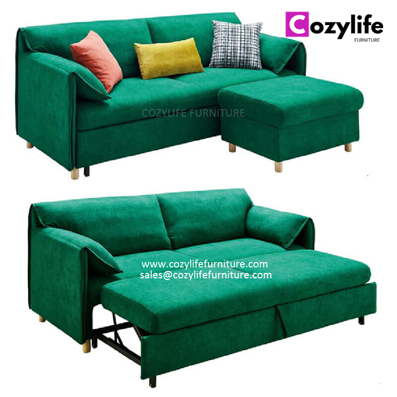 3 seater pull out sleeper sofa couch with storage ottoman