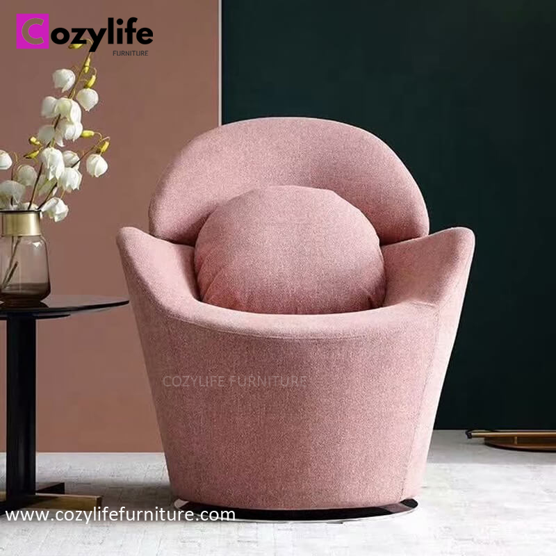 Modern velvet pink lounge chair with swivel function for living room and bedroom