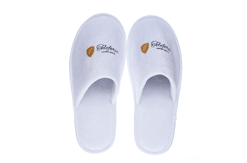 Customized Logo Embroidered Printed Hotel Slipper Disposable Cotton Flax Hotel Slippers