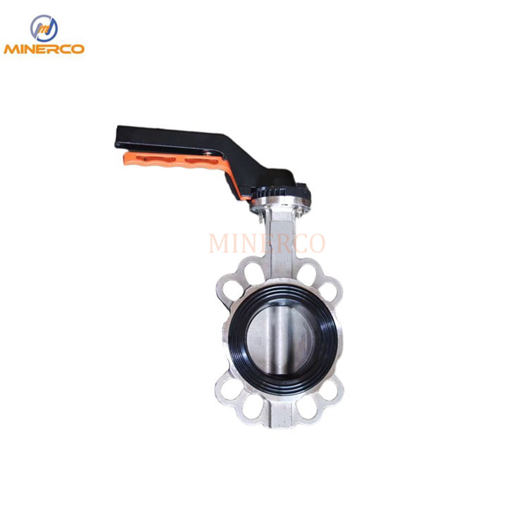 Hand Lever Wafer Type PTFE Seat Stainless Steel Sanitary Butterfly Valve Dn80