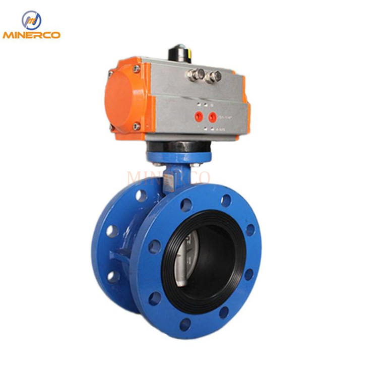 Viton Seat Flange Cast Steel Material Pneumatic Butterfly Valve