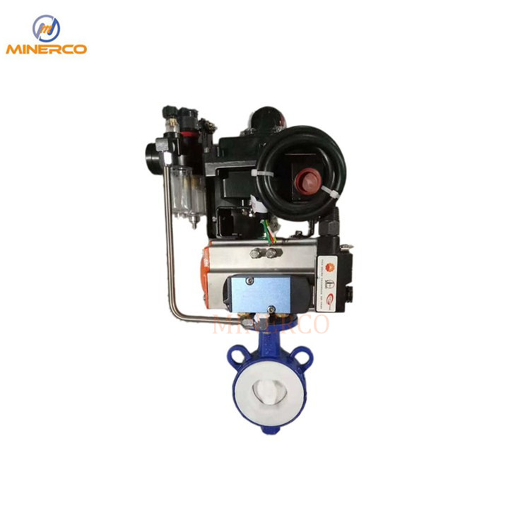 Carbon Steel Body PTFE Lining Wafer Butterfly Valve with Pneumatic Actuator