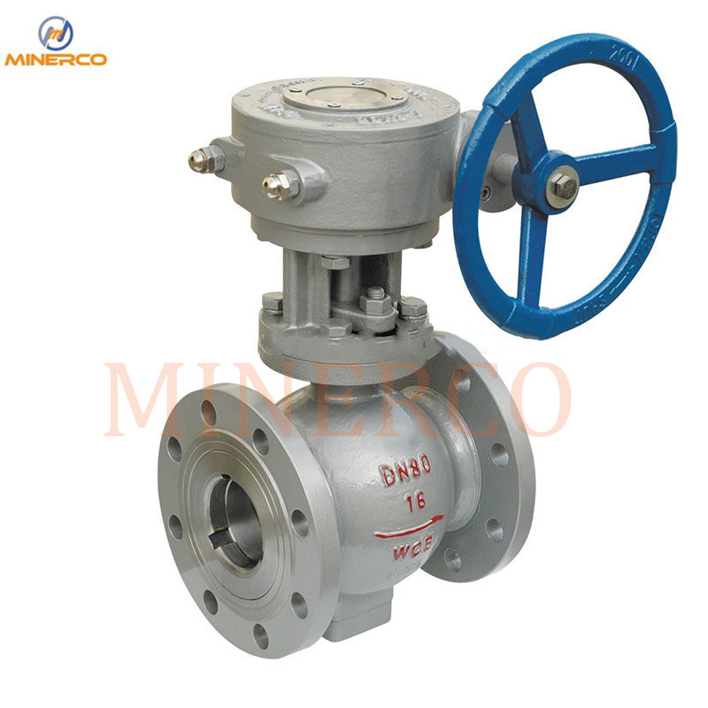 Carbon Steel Stationary Gear Box Dn80 Pn16 2PC Manual Flanges Ball Valves