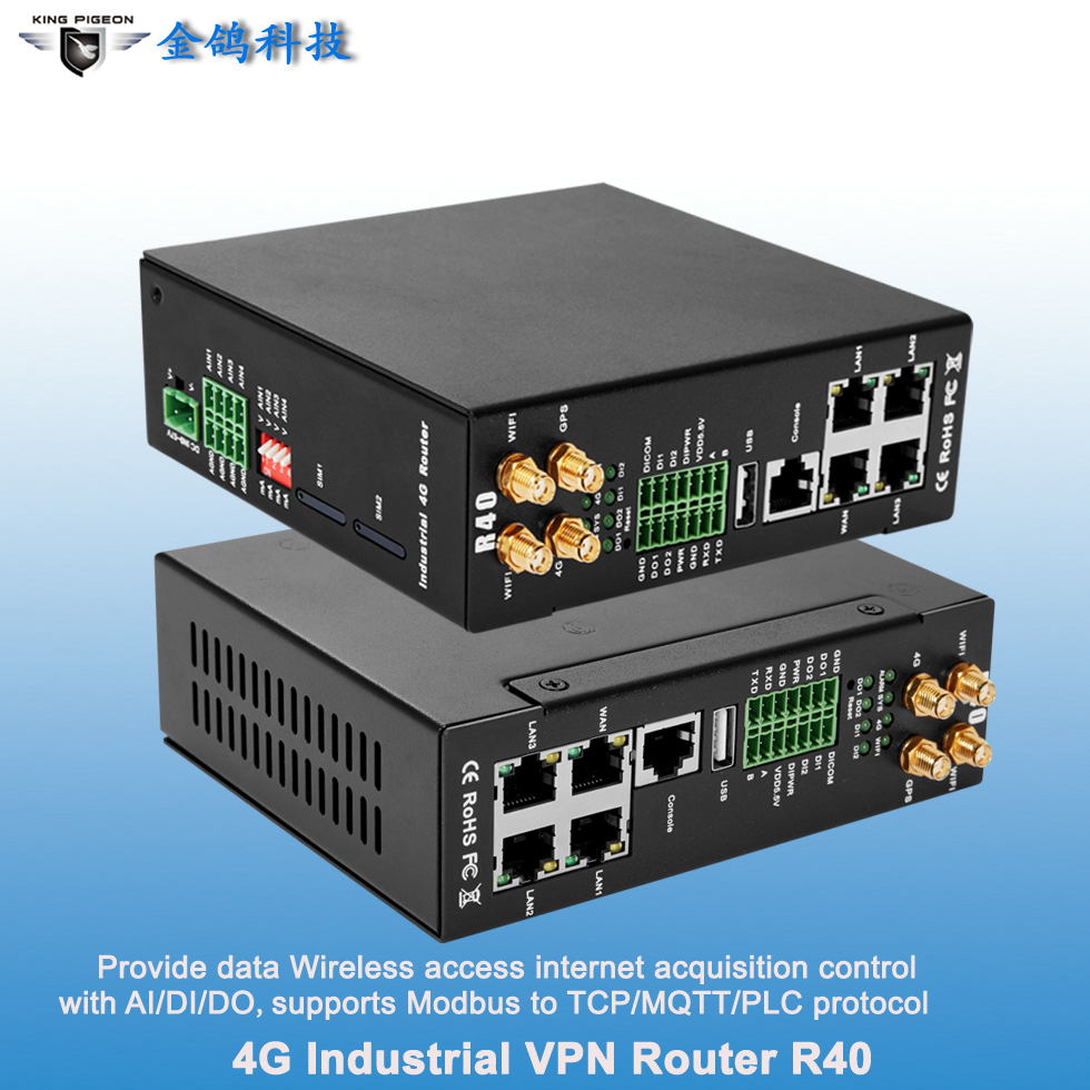 Dual SIM 4G LTE and 5G-ready cellular routers for IoT applications with wifi 3 LAN 1 WAN support IP cameras and other network equipment devices.