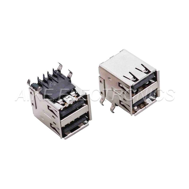 Double-deck(2 in1) USB 2.0 A Type Female,Right Angle,Double-layer DIP type