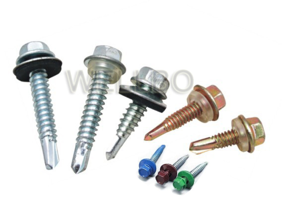 Hexagon head self drilling screw with EPDM washer