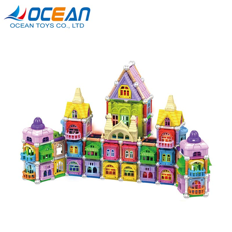 Educational 3D DIY kids set building magnetic toy block with light