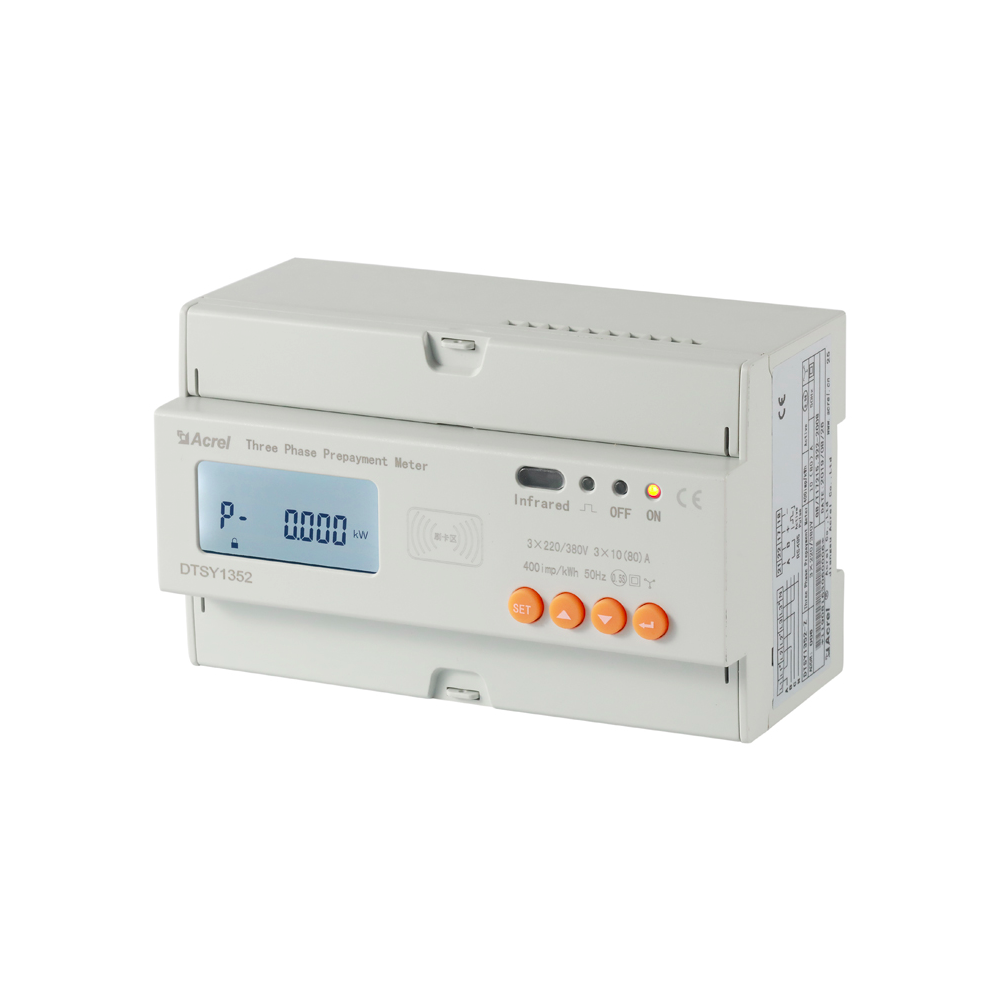 ACREL prepaid energy meter wiring connect via CT wired communication RS485 wired mode ADL300-EYNK