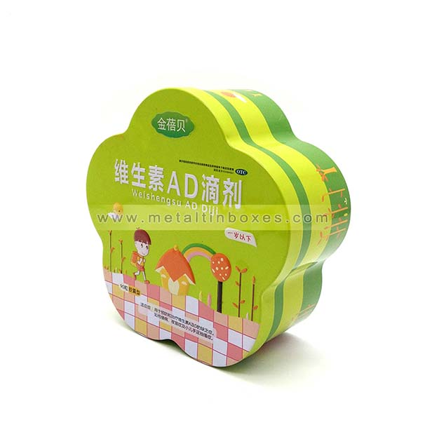 Lovely flower shape biscuit tin box biscuit packaging tin boxes