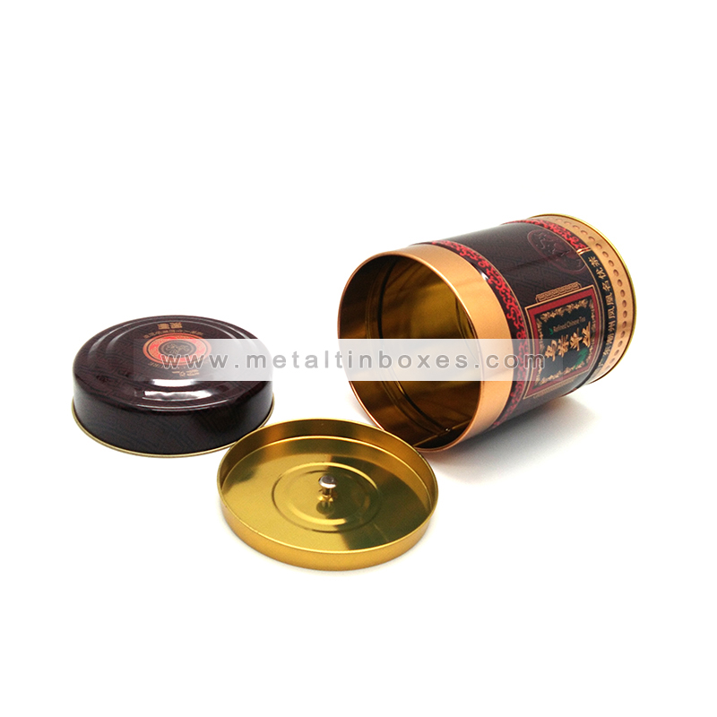 Custom printing round tea storage tin with airtight double lids