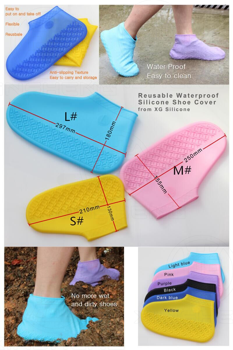 Silicone reusable shoe covers protect from raining