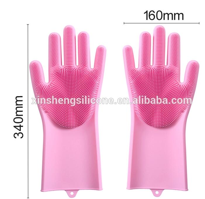 Reusable Silicone Gloves Dishwashing with Scrubber Dishwashing Glove Silicone