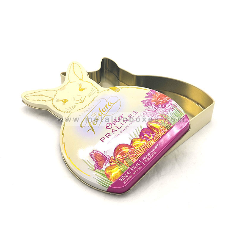 Metal rabbit shape chocolate Box Cookie tin box biscuit packaging
