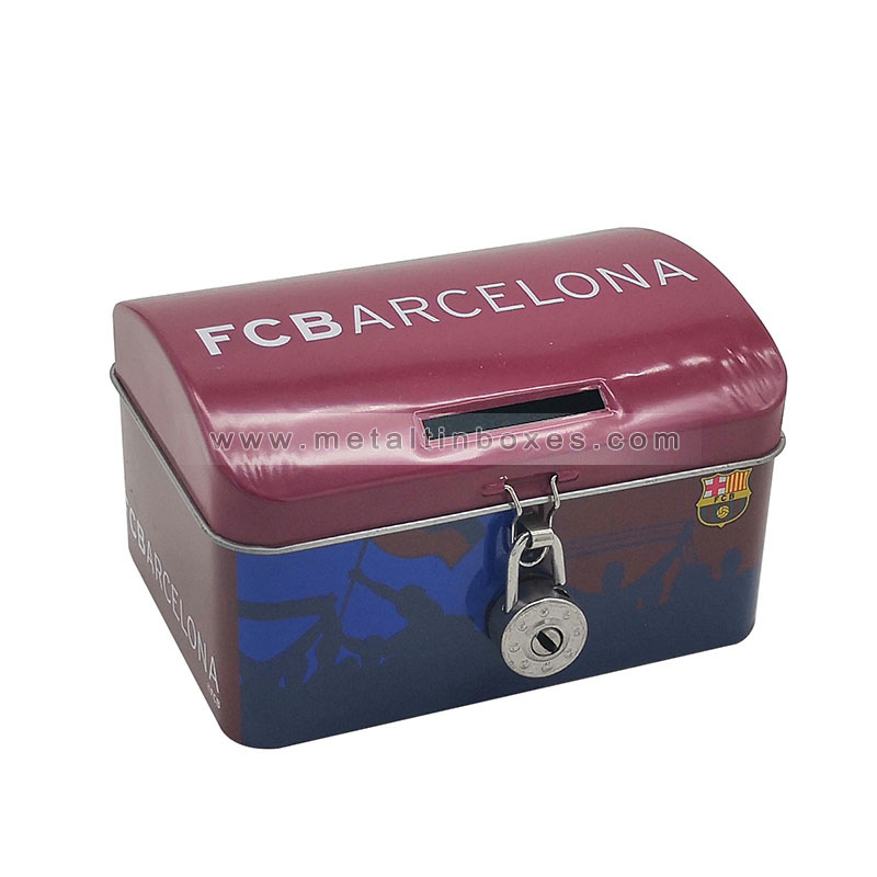 Hinged tin coin bank with lock and key