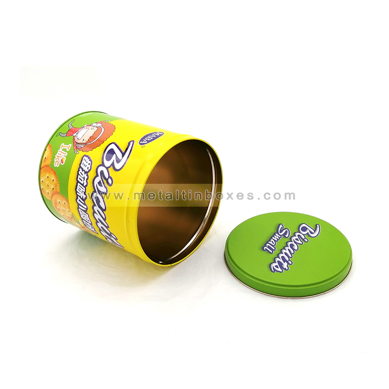 Wholesale round metal tin box for biscuit