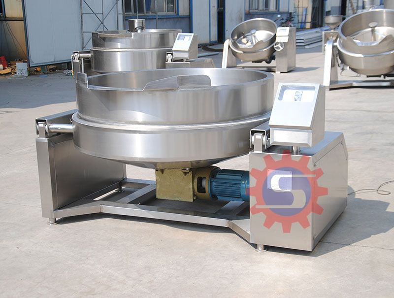 Gas jacketed kettle with mixer  jacketed boiling pot   Gas vacuum jacketed kettle supplier