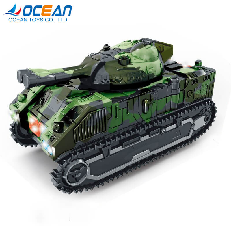 Battery operated deformation robot military army tank toys with light music