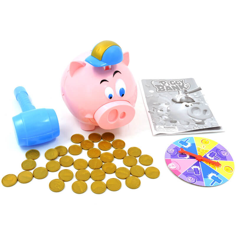 Indoor funny interactive hitting plastic exploding piggy bank kids toys games