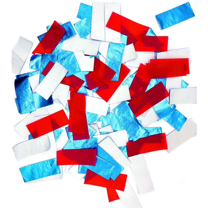 patent new products SHINY BLUE+WHITE+RED SLIPS 100% biodegradable for confetti popper