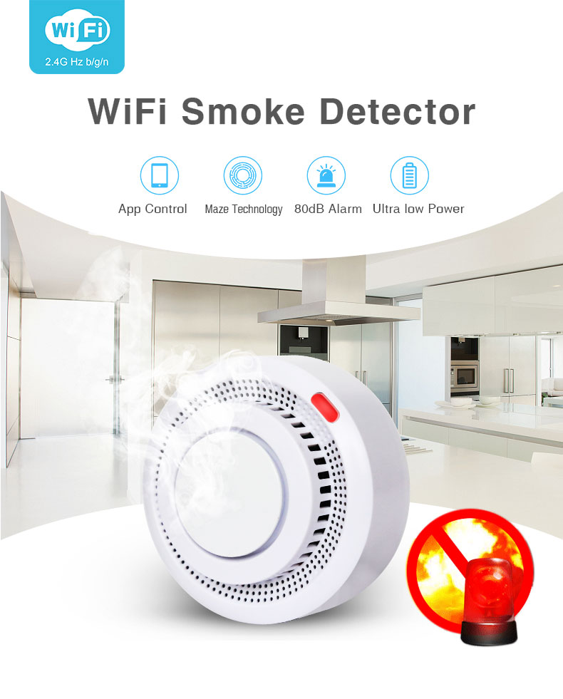 Enerna IoTech WiFi Smart Automatic Remote Smoke Detector Fire Alarm