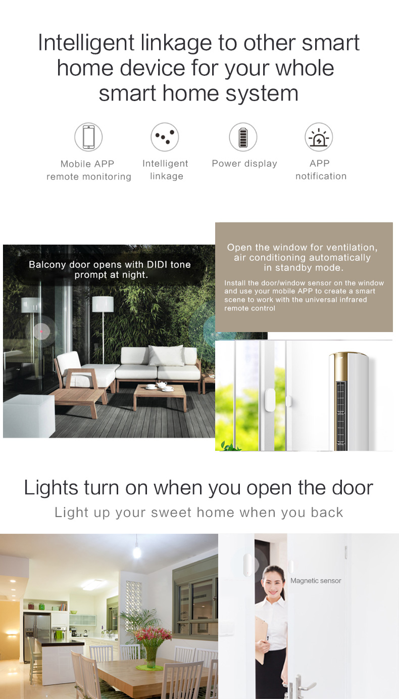 Enerna IoTech WiFi Smart Home Guard Voice Control Door Windows Magnetic Contact Detector