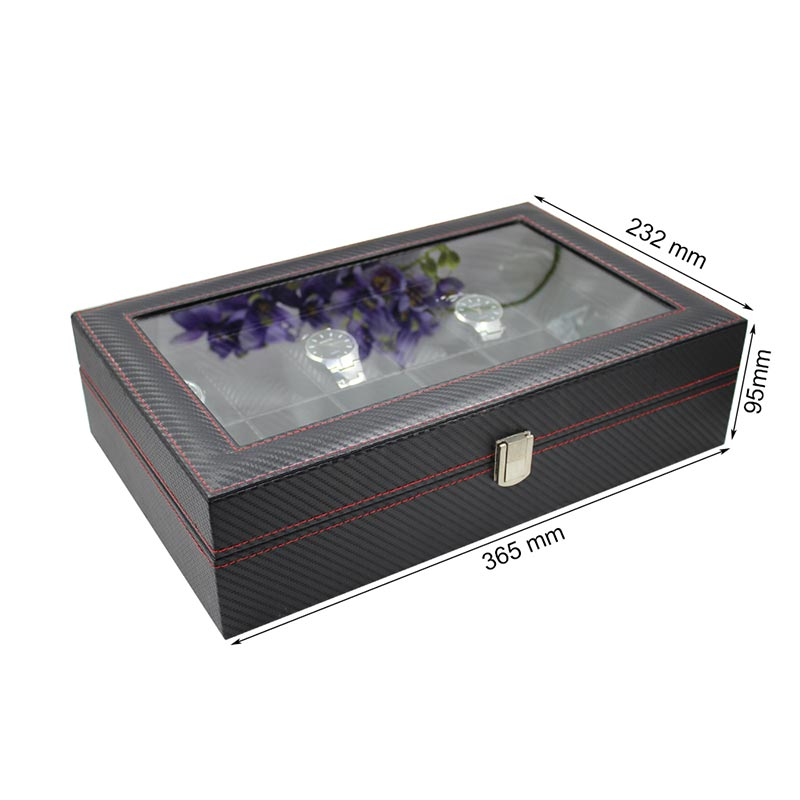 Black Leather Watch Box Wholesale Price For 12 Watches Display  Leather Watch Box Wholesale   watch storage display box