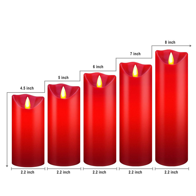 Red Real Wax LED Moving Wick Flameless Candles Set of 5