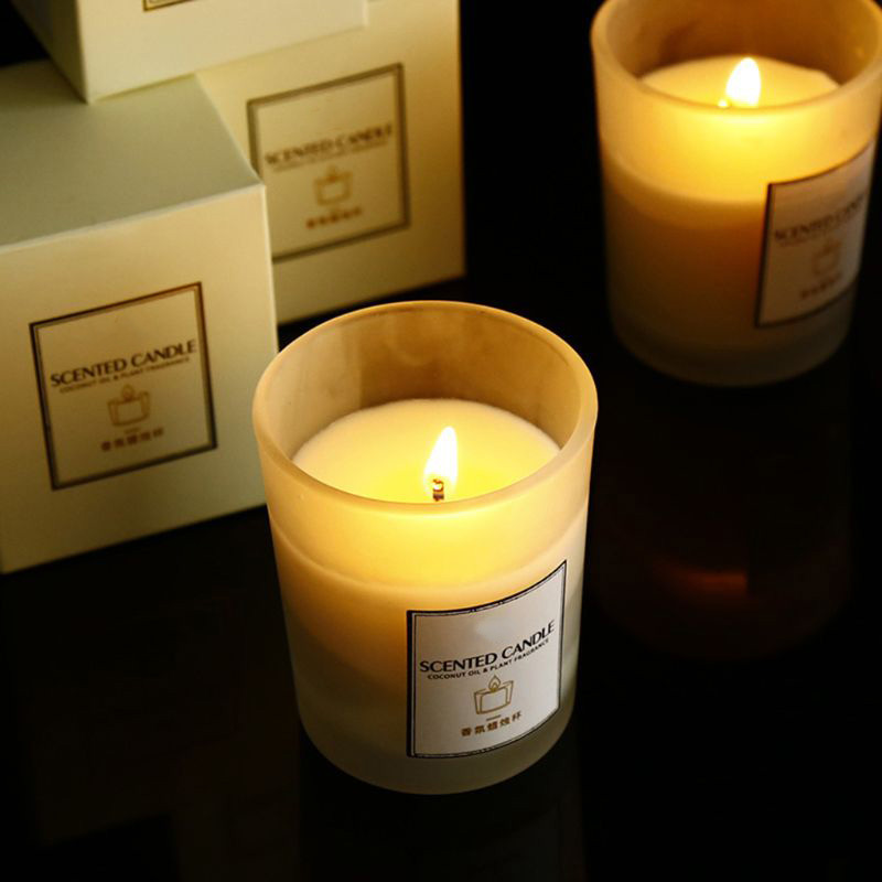 Frosted Glass Jar Scented Candles, Luxury Soy Wax Candles Wholesale