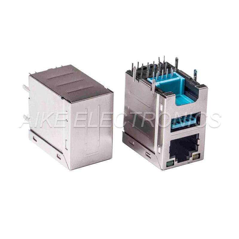 Height Increased Connector RJ45 female 8P8C,Tab up, DIP TYPE With shell + USB3.0 A Type Female,Right Angled, DIP Type without shell