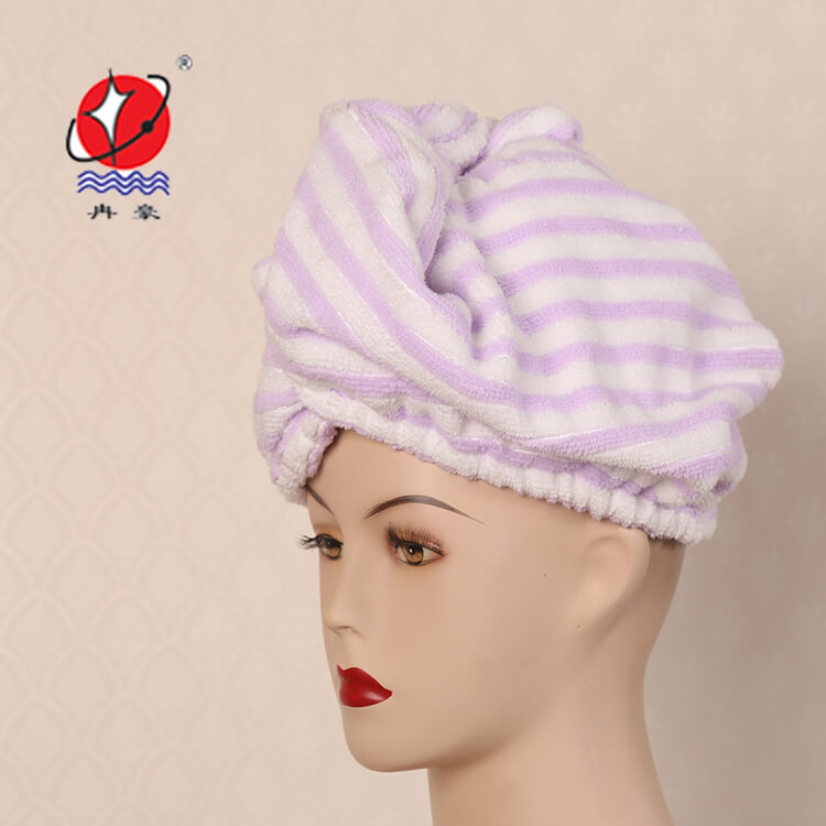 Microfiber Striped Hair Turban