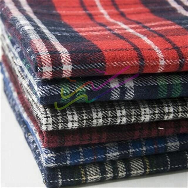 Brushed check cotton flannel fabric for shirt