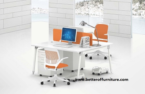 Module design Two Person glass divider office workstation desk set T type
