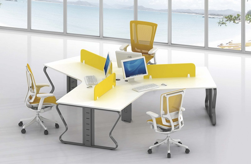 B shape 3 person staff use office desk workstation 120 degree distribute