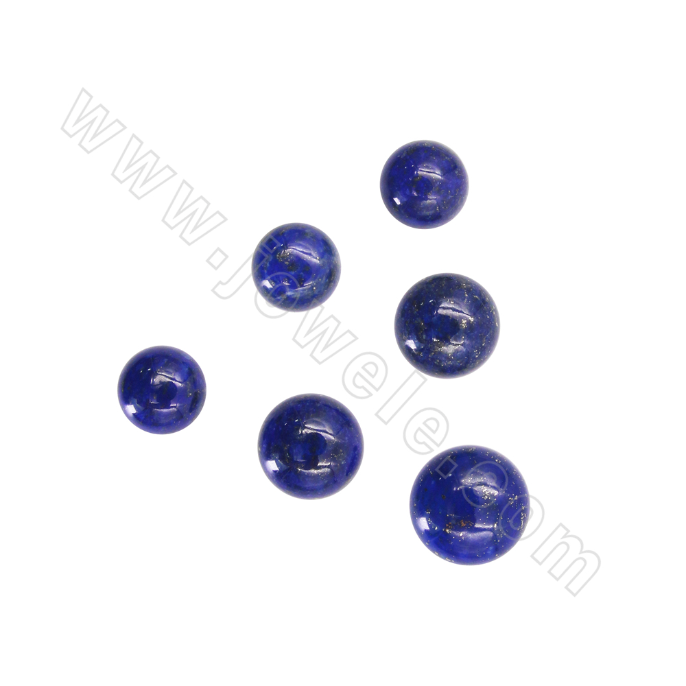 Natual Lapis lazuli Cabochons Round Diameter 12-16mm Thickness About 5.5-6.5mm 4Pieces/Pack