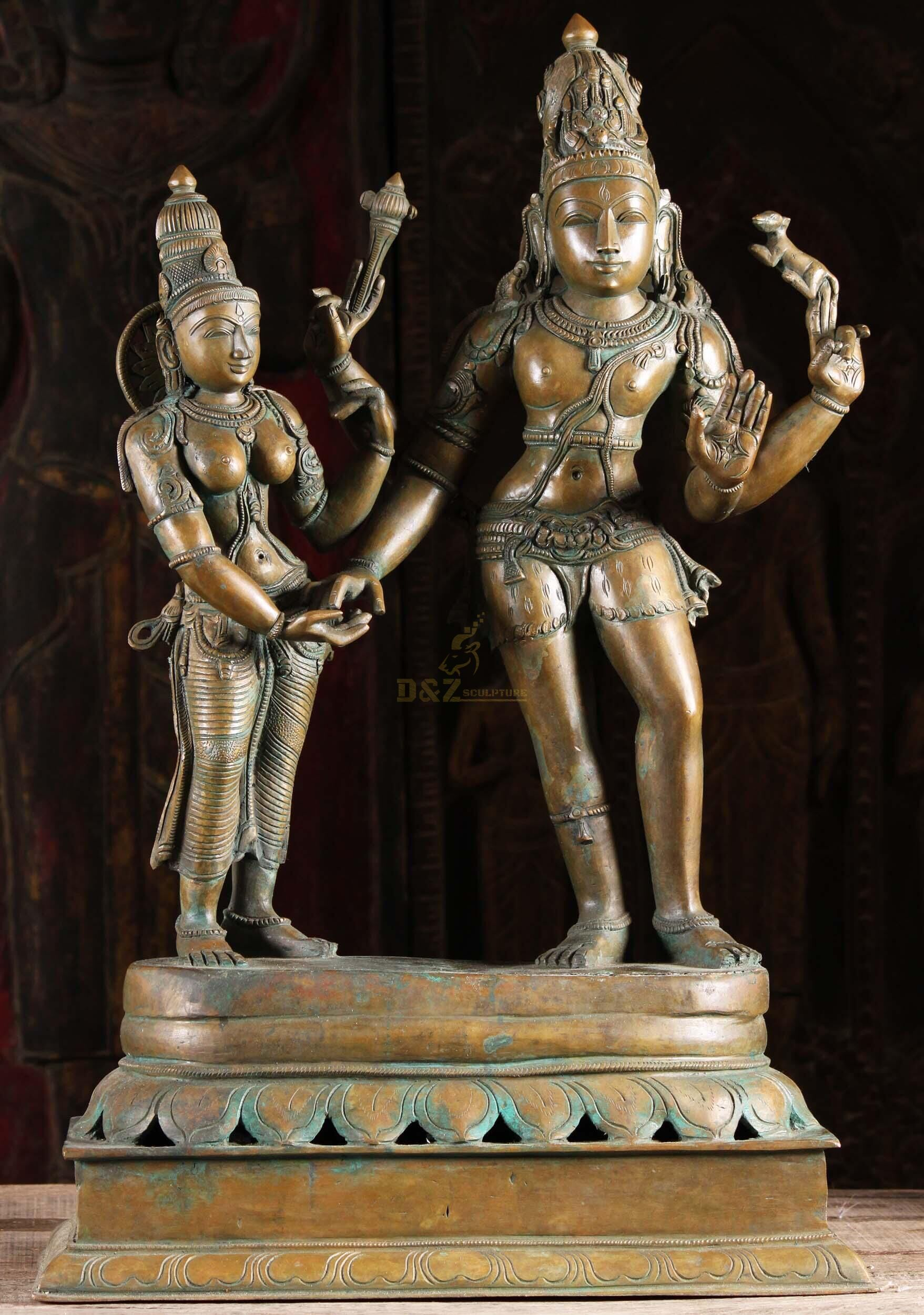 Buddhism temple decoration bronze lord shiva shakti statue