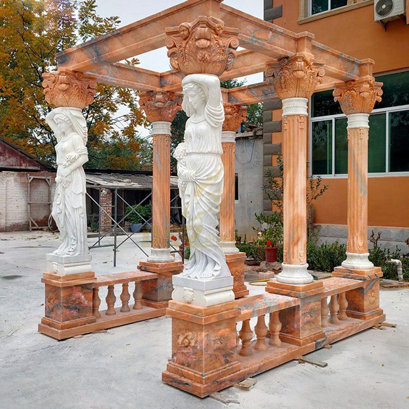 Natural Outdoor Marble Gazebo With Beautiful Women Column For Decorative