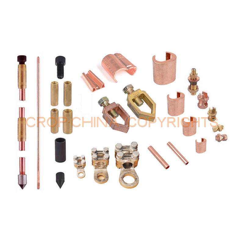 99.9% pure copper earth rod clamp for ground rod and cable with accessories