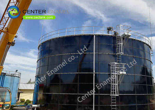 Glass Fused to Steel Landfill Leachate Storage Tanks With Aluminum Alloy Trough Deck Roofs