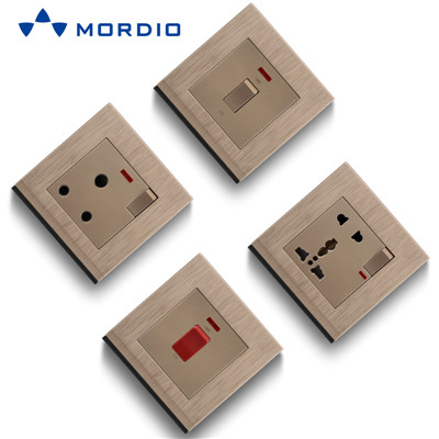 K2 Golden UK Standard BRISTOL 1gang Switch Light and 5pin Multiple Sockets with 2.1A USB Outlets
