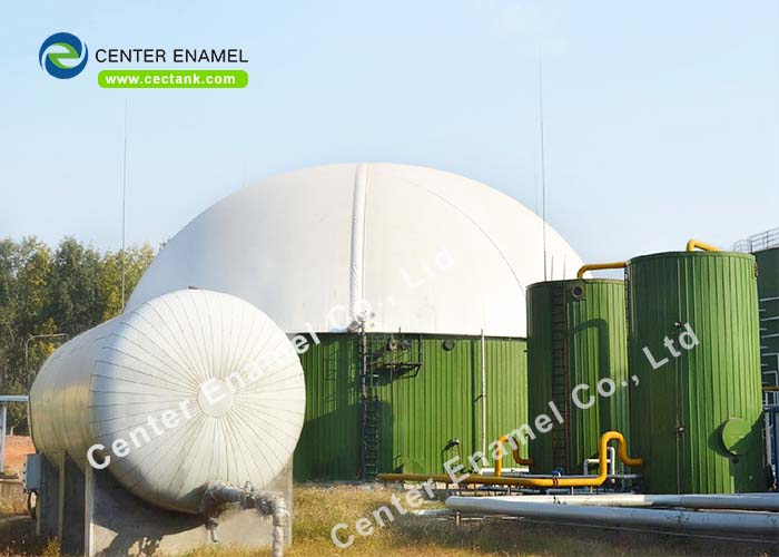 Glass Lined Steel Tank With Double Membrane Roof For Biogas Storage