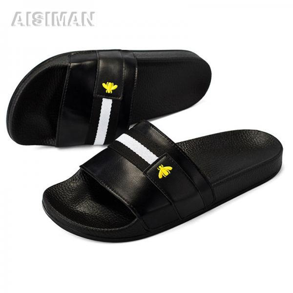 Hot sale PU leather plain slide sandal
