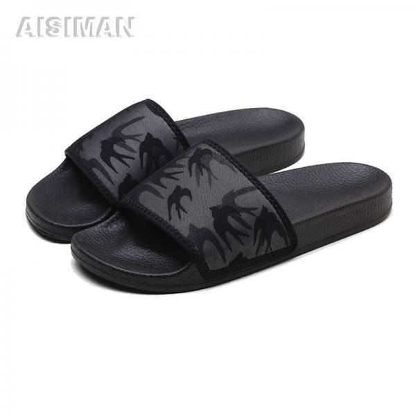 Custom Logo Black Color PU Slide Sandals For Men Shoes Slippers