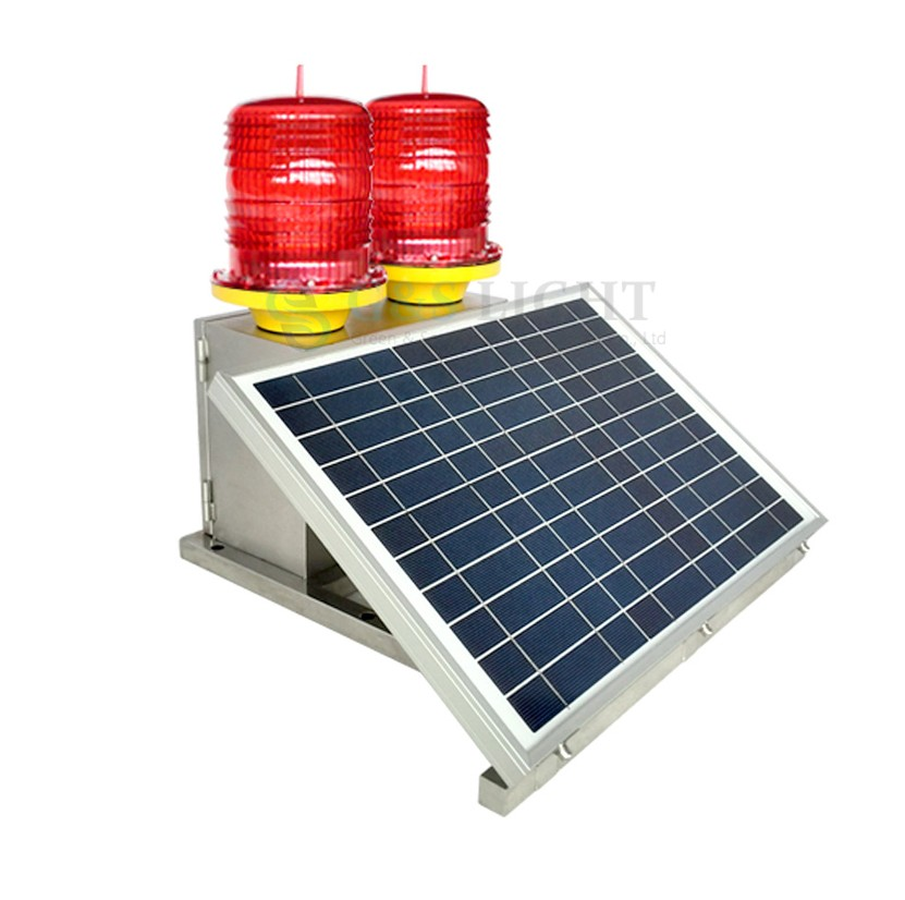 Double light integrated Medium intensity solar Led aviation light