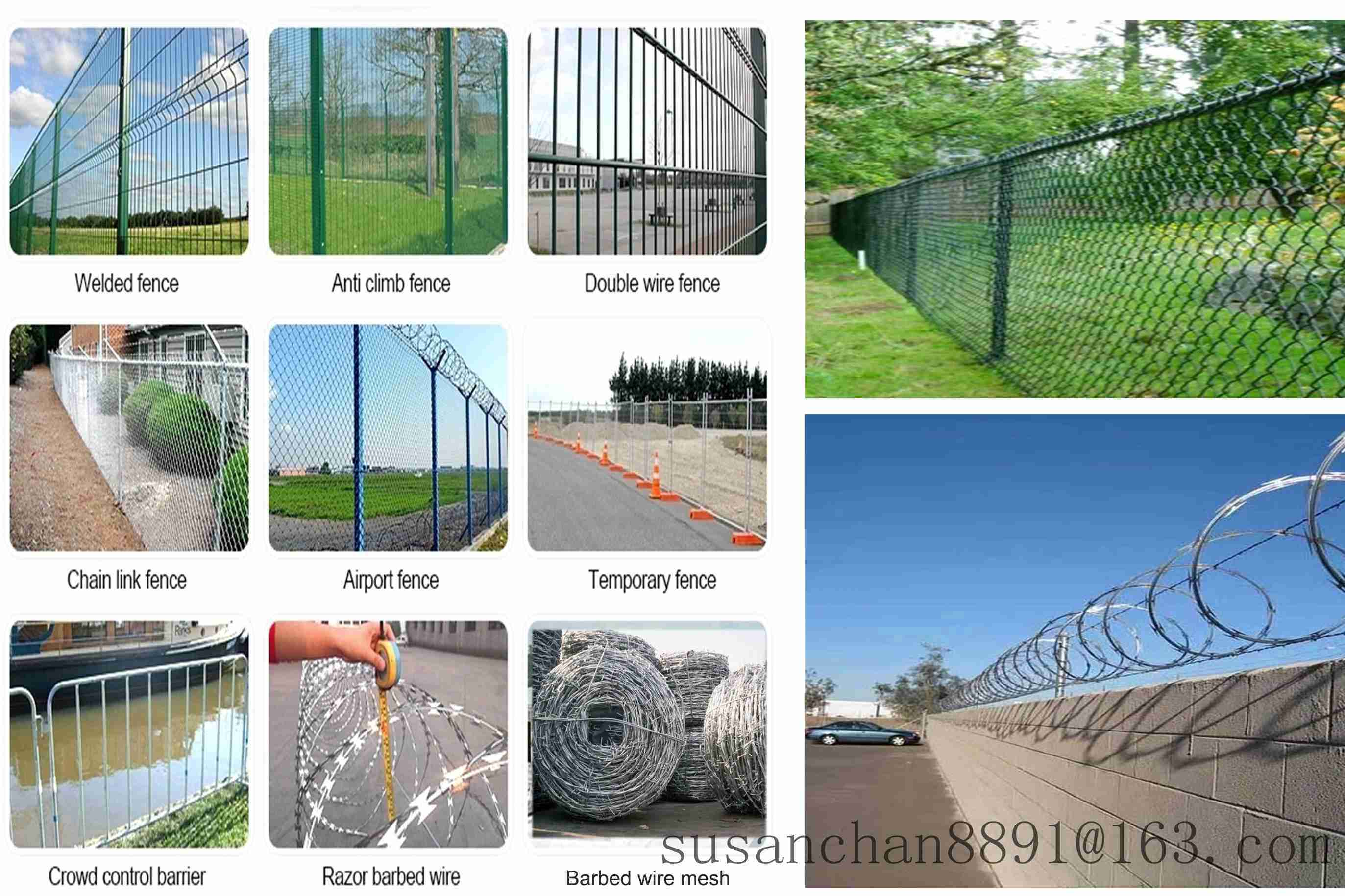 Anti climb Galvanized Stainless Wire Mesh Chain Link Fence
