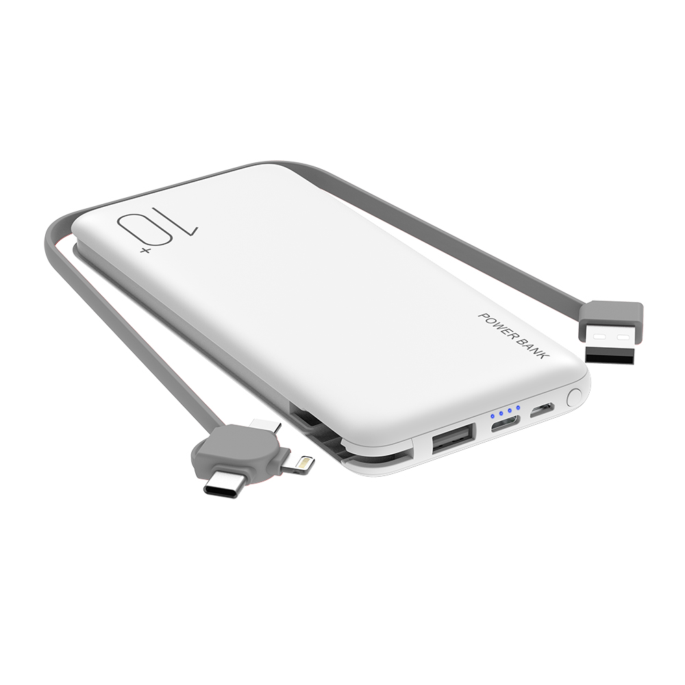 Built in a cable portable charger 10000 mah powerbank Portable External power bank slim