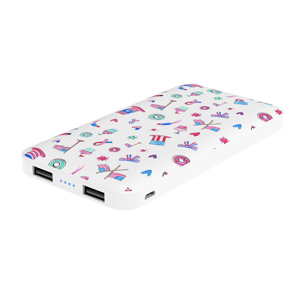 Power Bank Dual USB Portable Powerbank Charger with Custom Color & LOGO Print 8000mAh